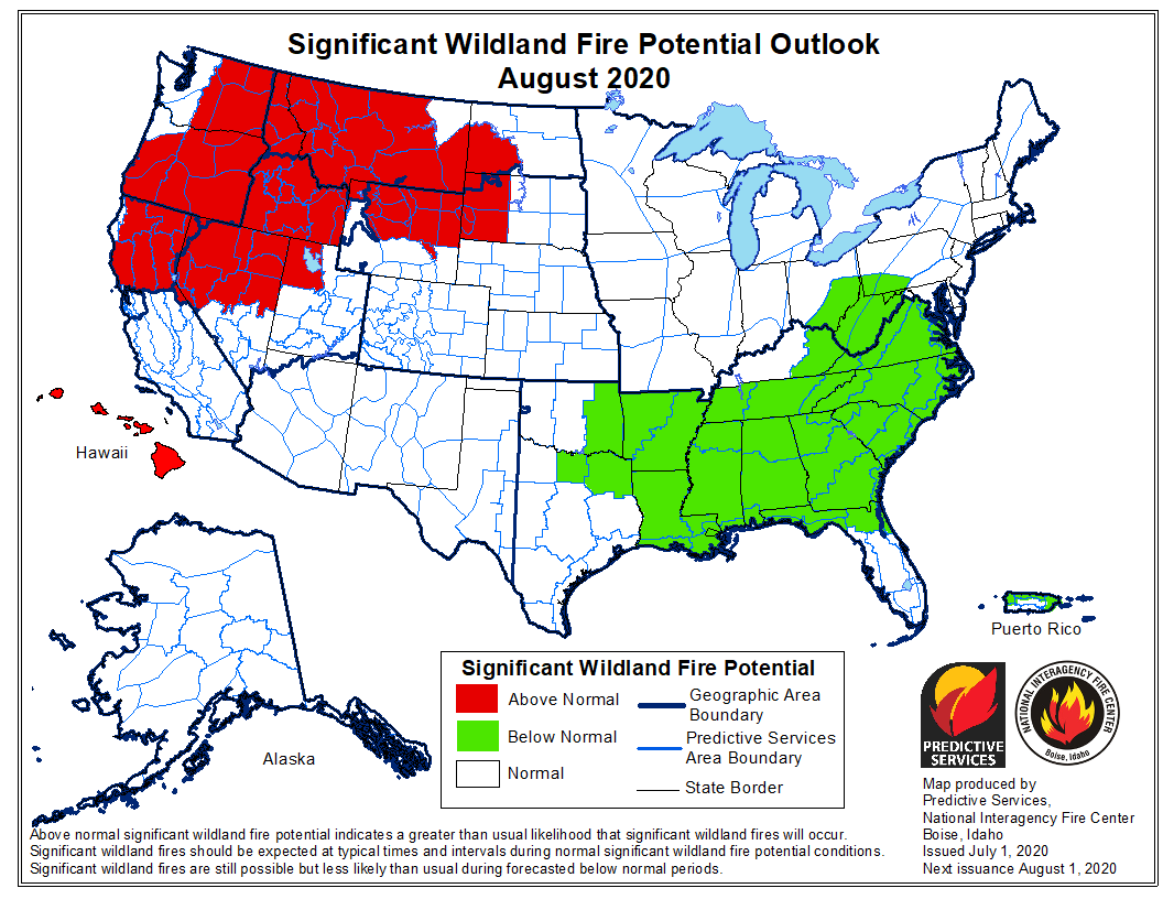 wildfire potential August 2020