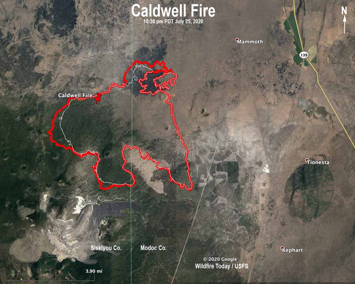 map Caldwell Fire California wildfire