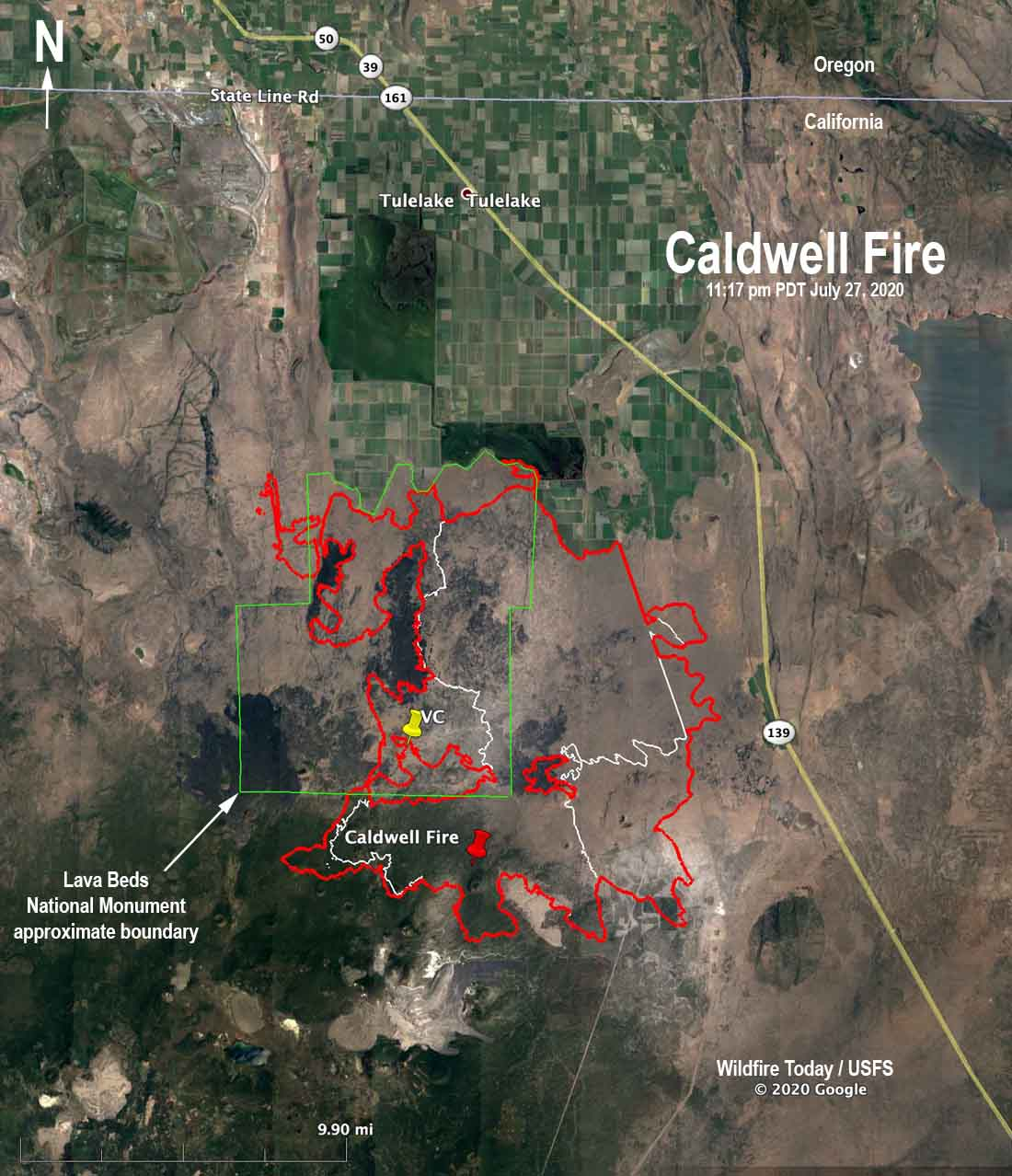Map of the Caldwell Fire wildfire California Lava Beds