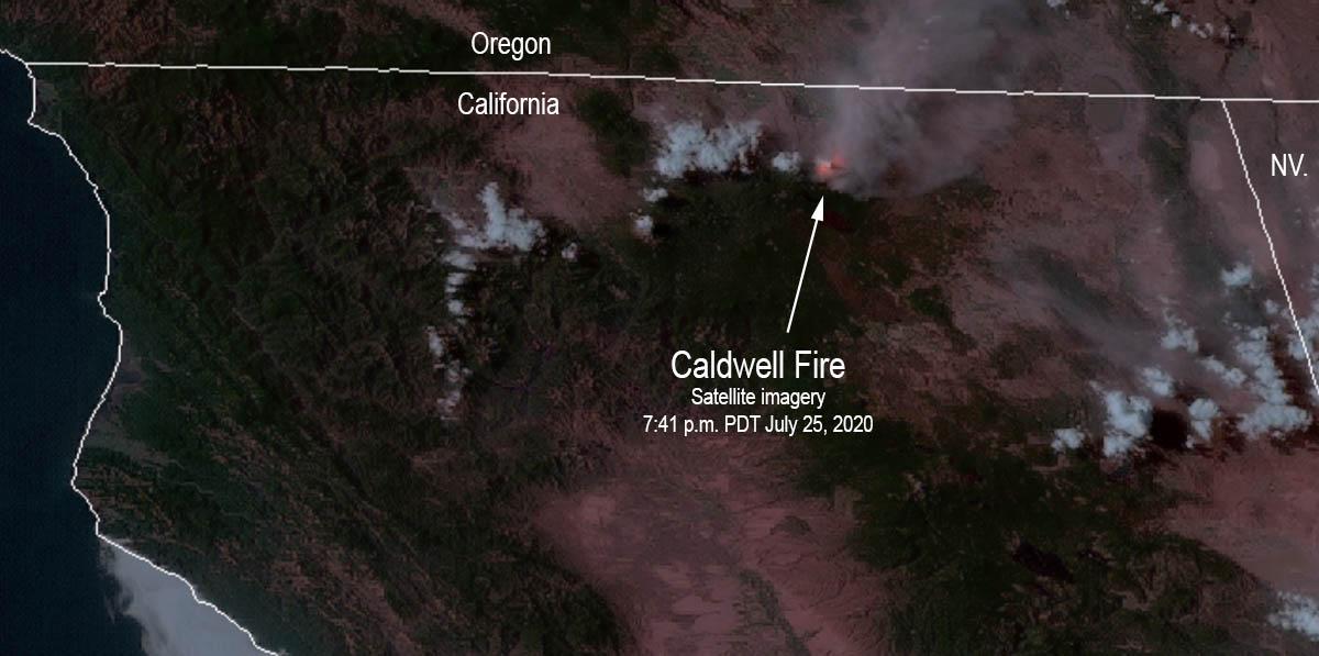 Caldwell Fire heat smoke satellite imagery