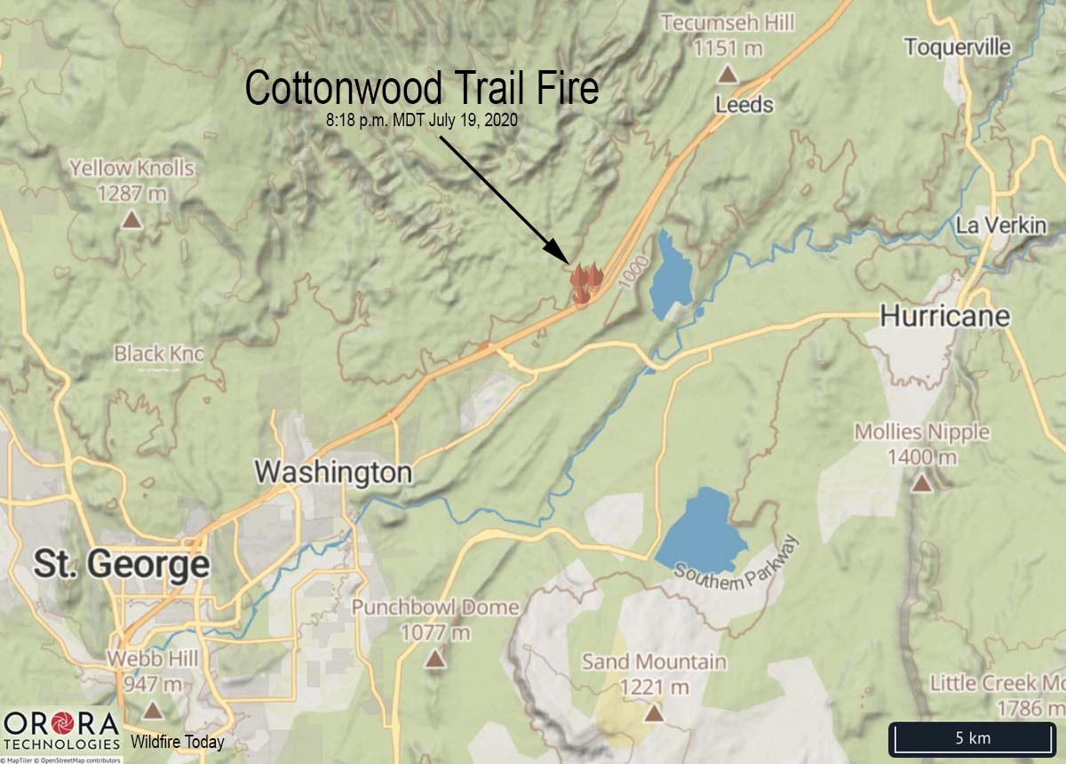 Cottonwood Trail Fire map