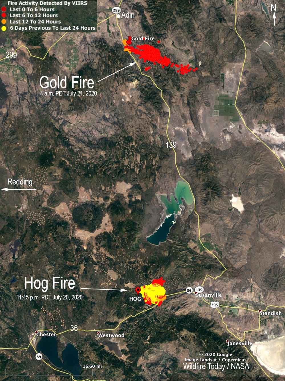 map Gold Fire Hog Fire east of Redding California wildfires