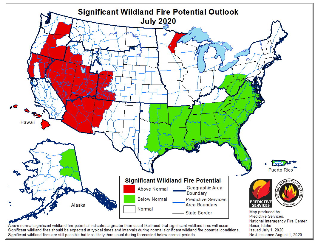wildfire potential July 2020