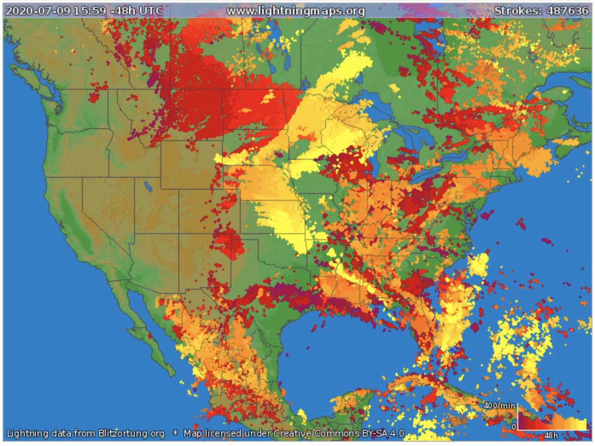 Lightning 48 hours July 9, 2020 map