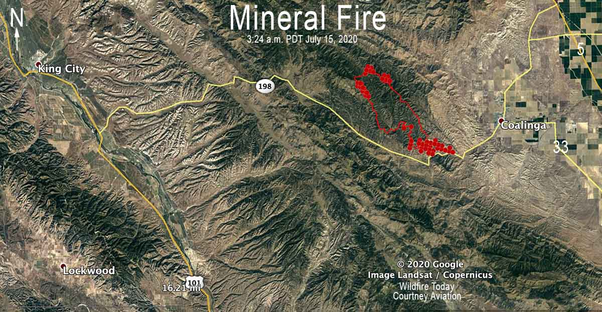 Mineral Fire map July 15, 2020