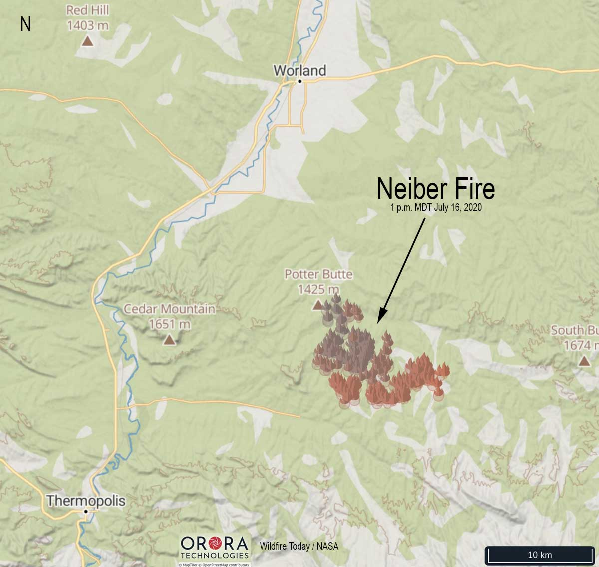 Neiber Fire map Wyoming Worland