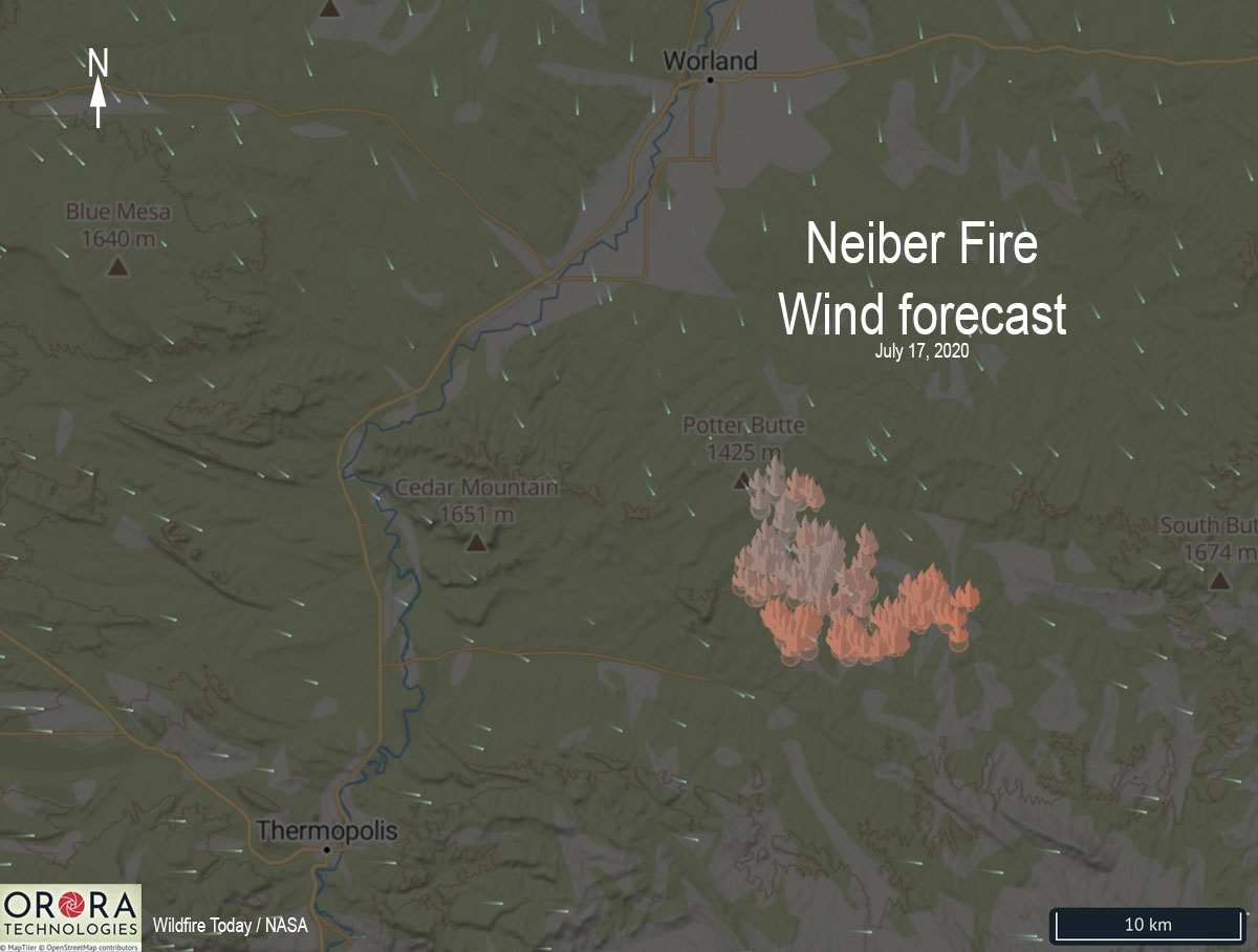 Neiber Fire wind forecast map Worland Wyoming