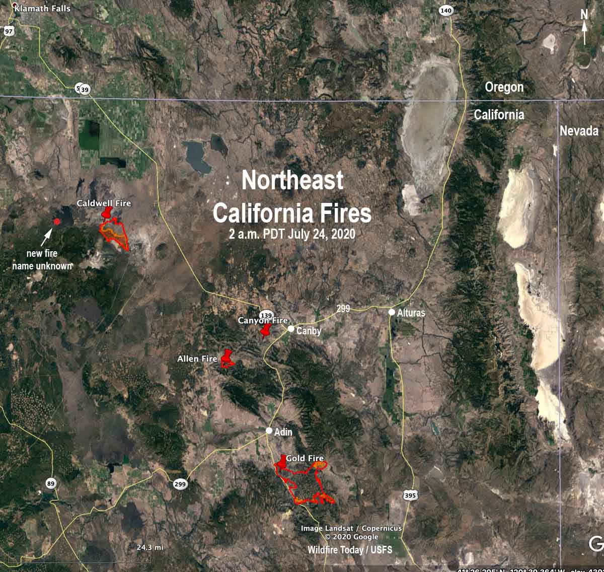 map Wildfires in northeast California