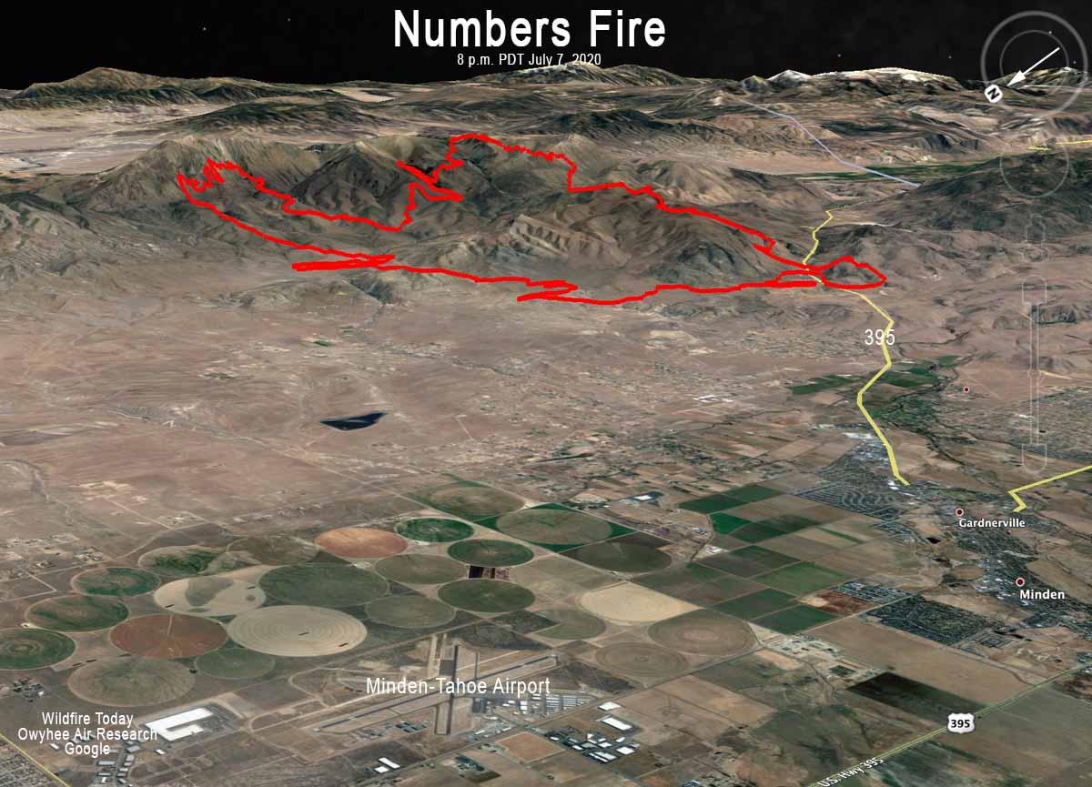 Map of the Numbers Fire at 8 pm MDT July 7, 2020