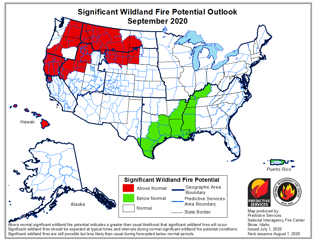 wildfire potential September 2020