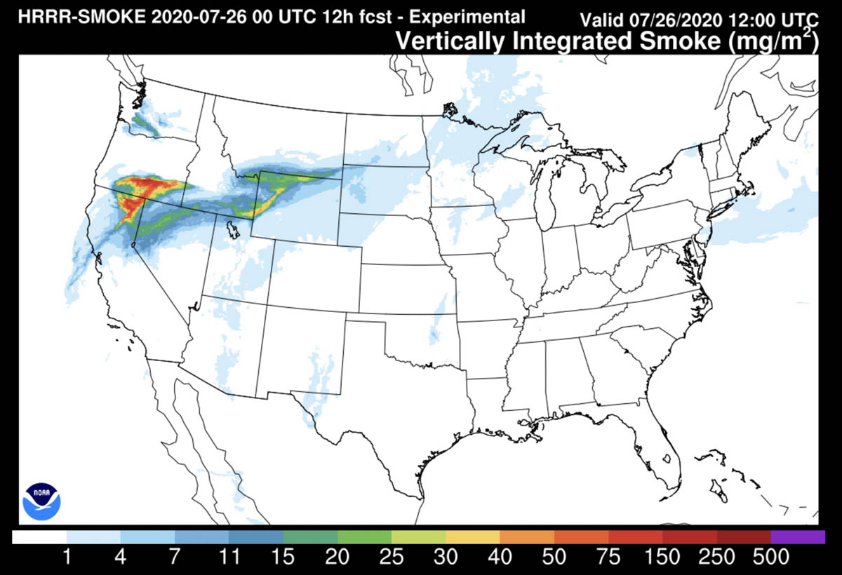 Wildfire smoke forecast 6 am MDT July 25, 2020