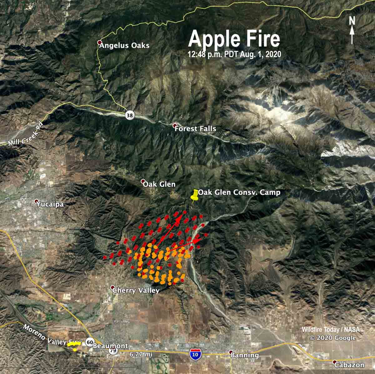 map Apple Fire Cherry Valley Beaumont California wildfire