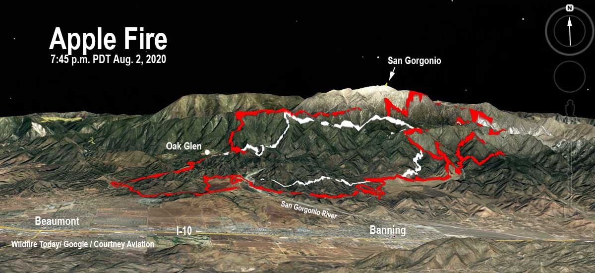 3-d map of the Apple Fire