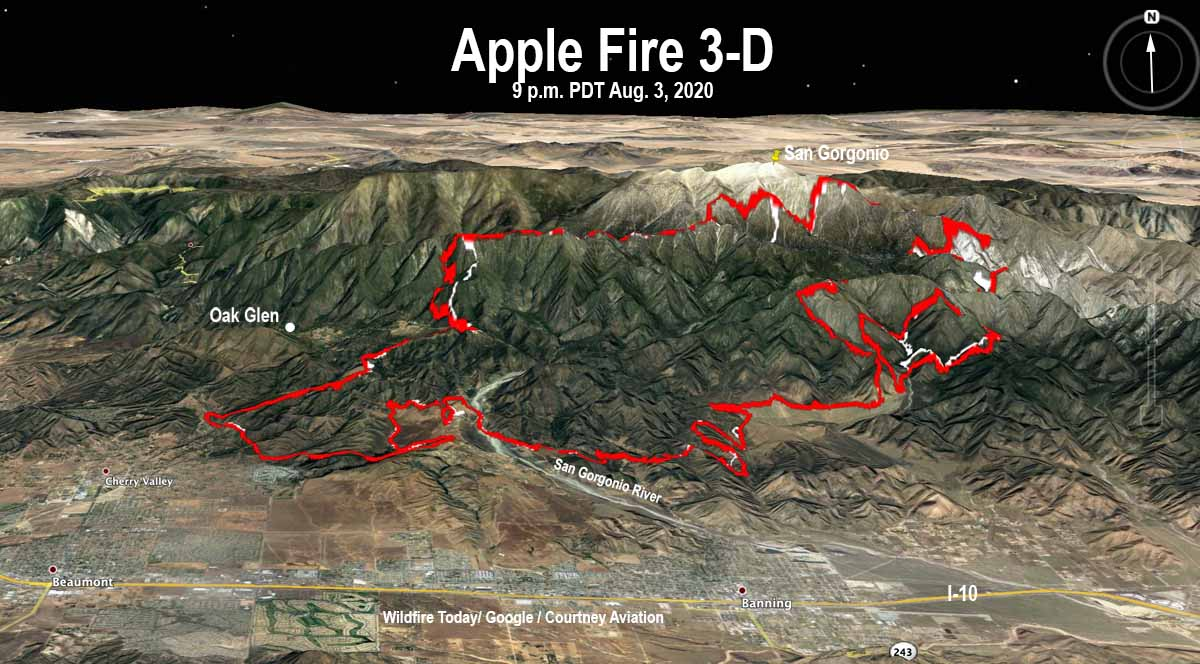 map Apple Fire 3-D 9 pm PDT August 3, 2020