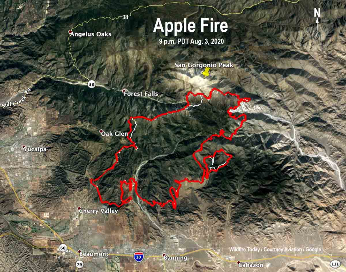 map Apple Fire 9 pm PDT August 3, 2020