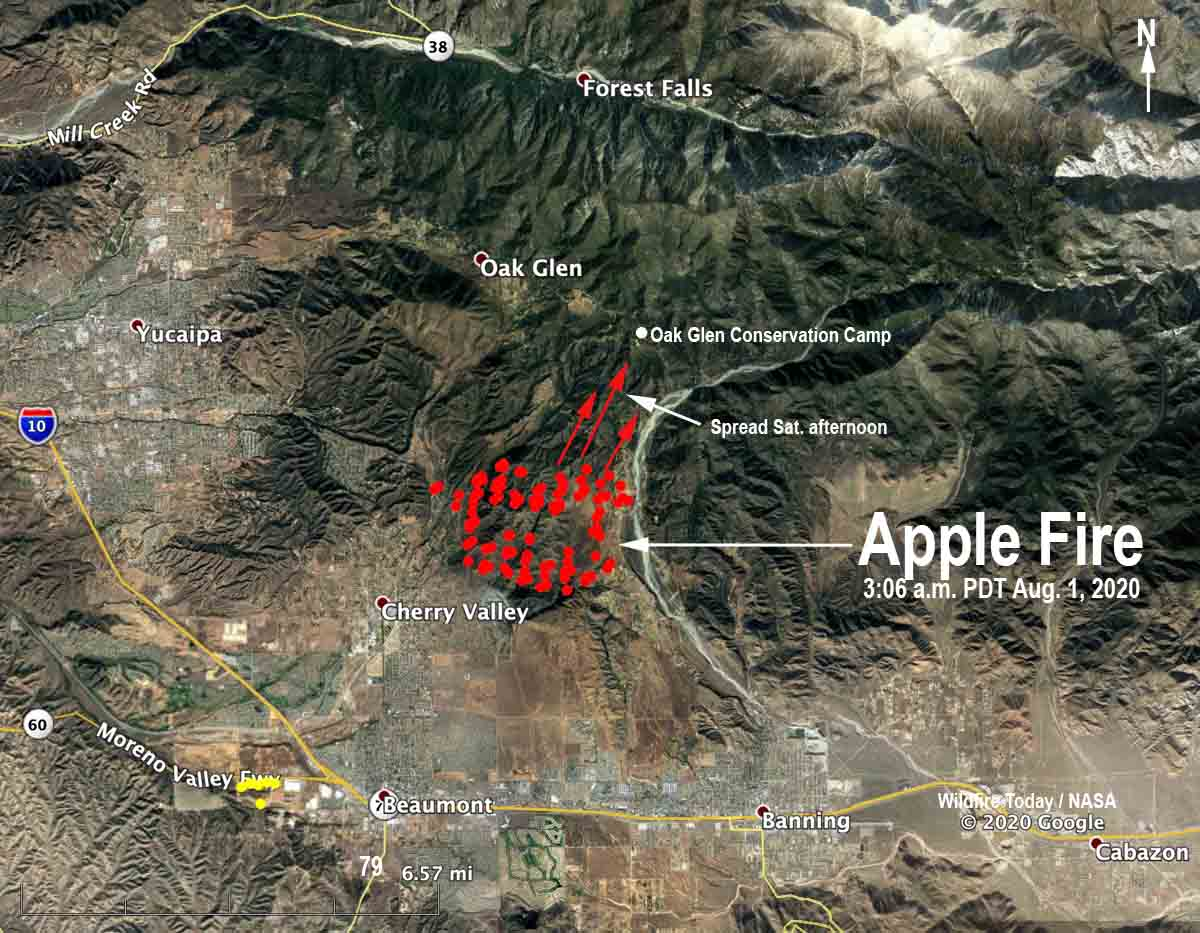 map Apple Fire Oak Glen Cherry Valley California wildfire