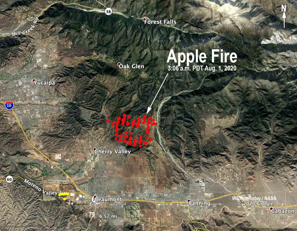 Apple Fire map 306 am PDT Aug 1