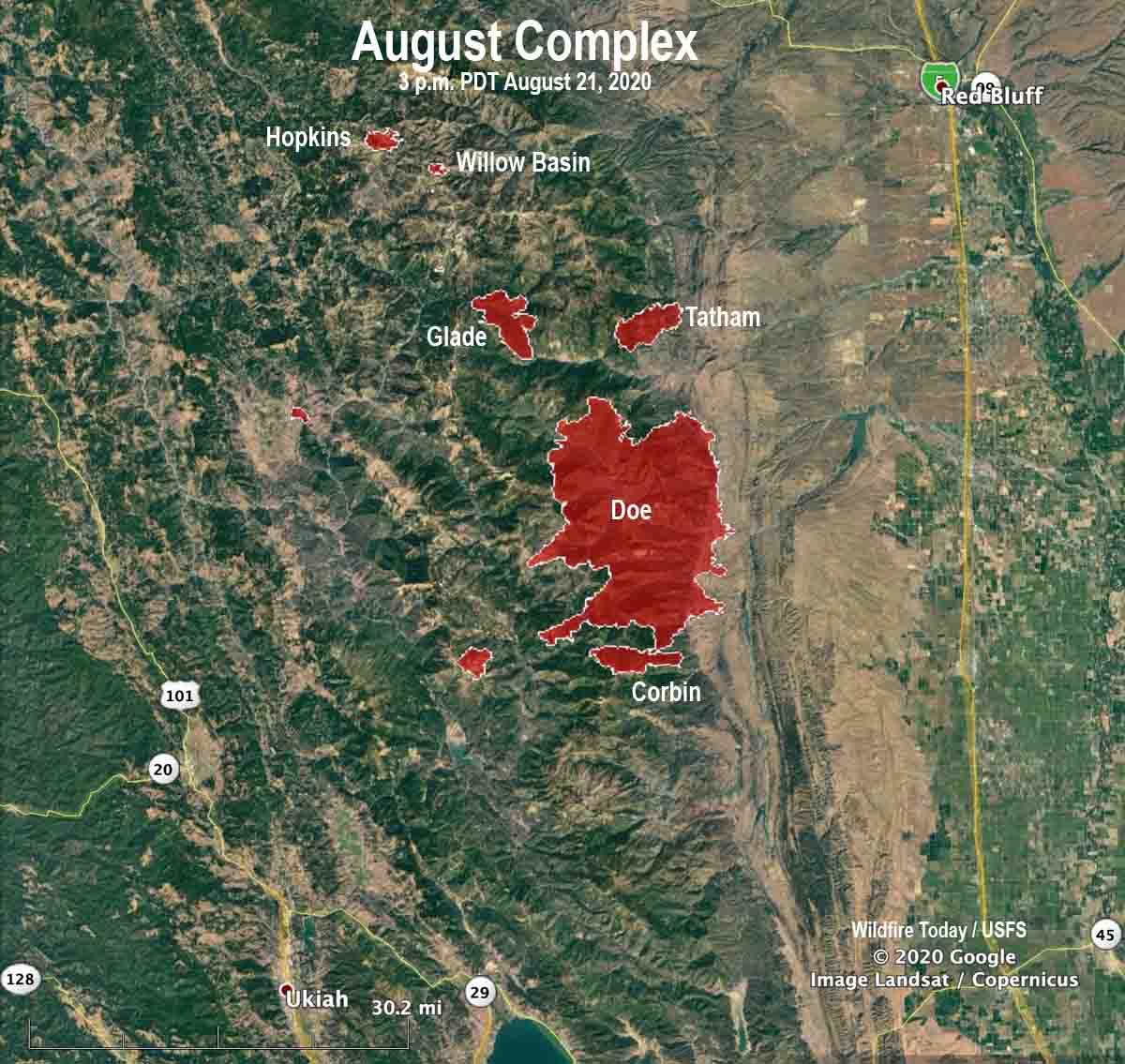 August Complex of fires map California