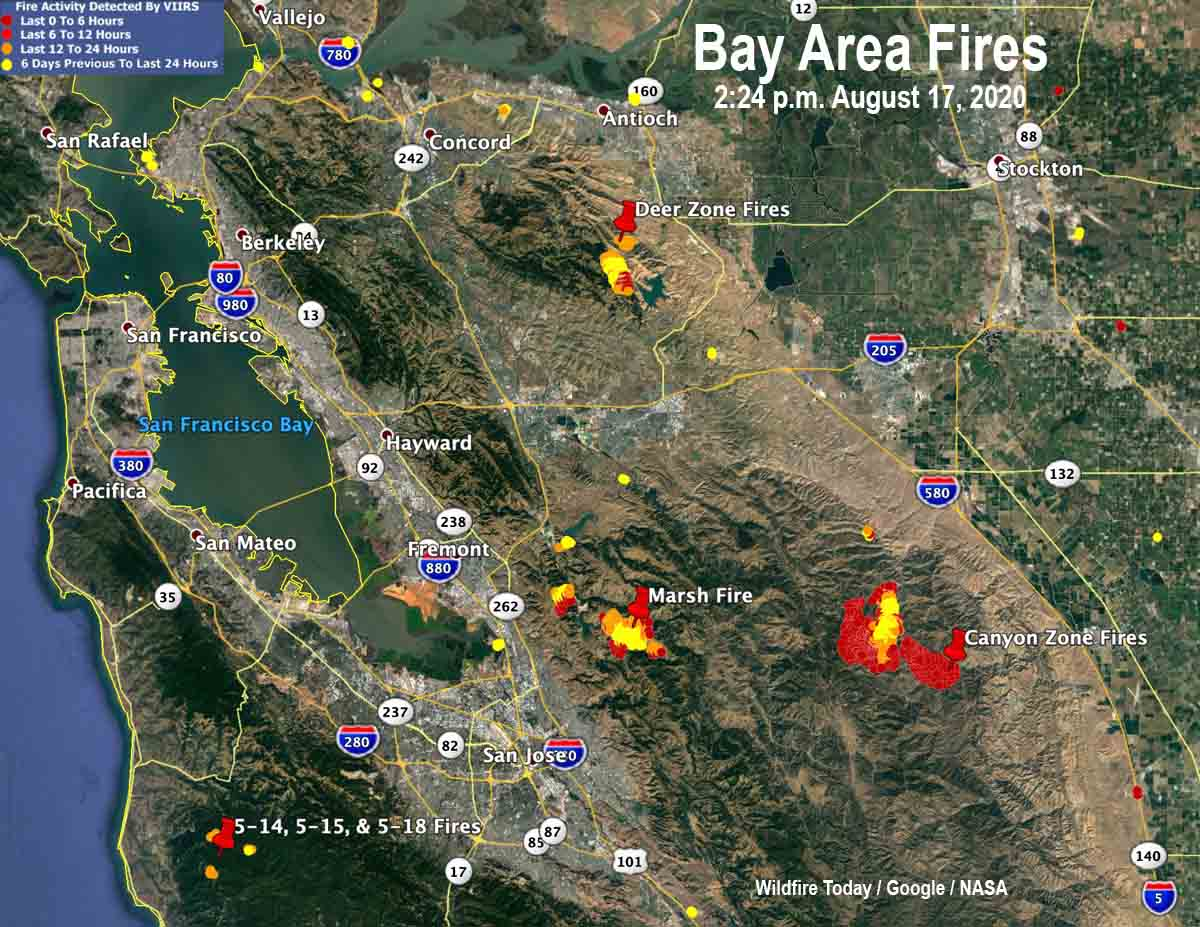 Lightning Ignites Fires In San Francisco Bay Area Wildfire Today Some interesting observations from this map the bay city freeway is removed from the 1979 map. san francisco bay area