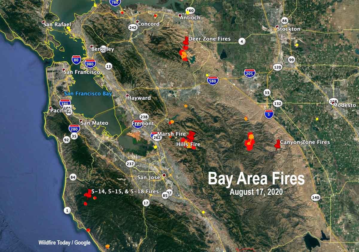 map fires bay area california