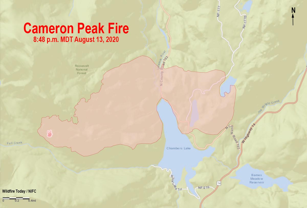 Map of the Cameron Peak Fire