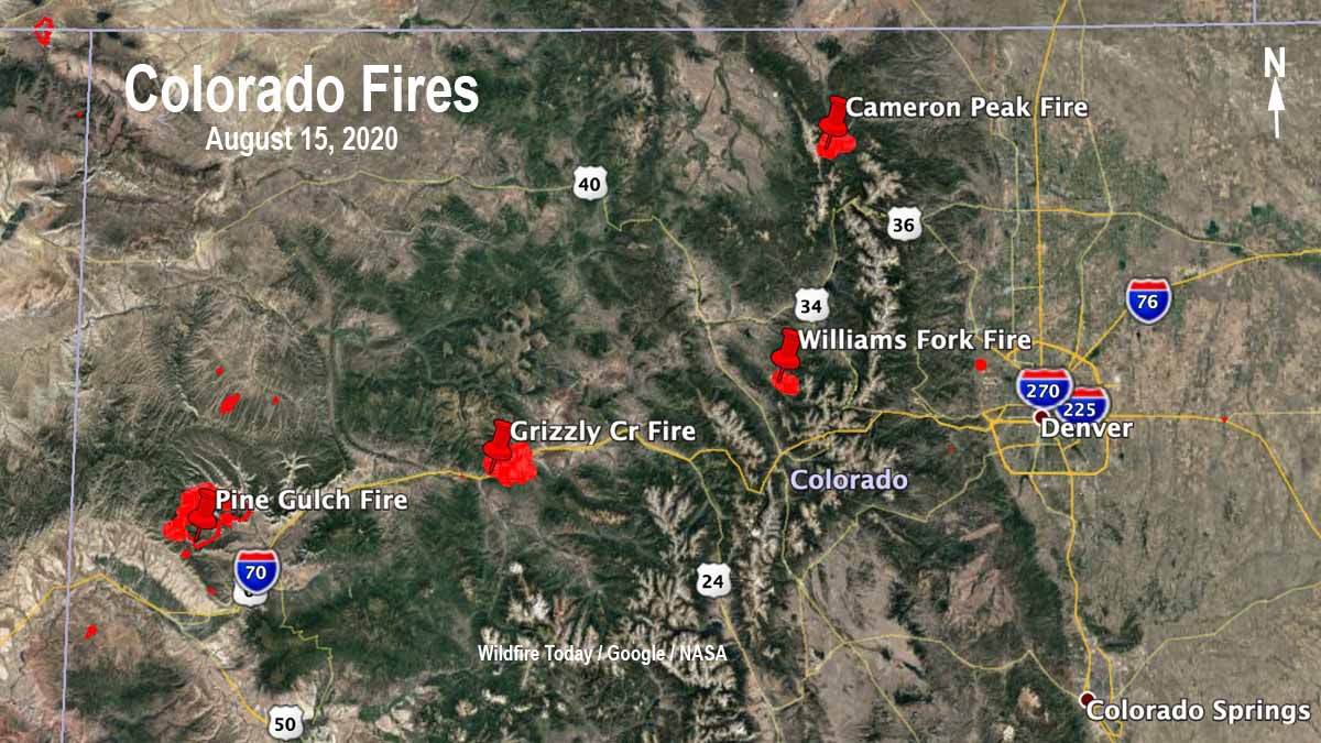 Map four large wildfires Colorado