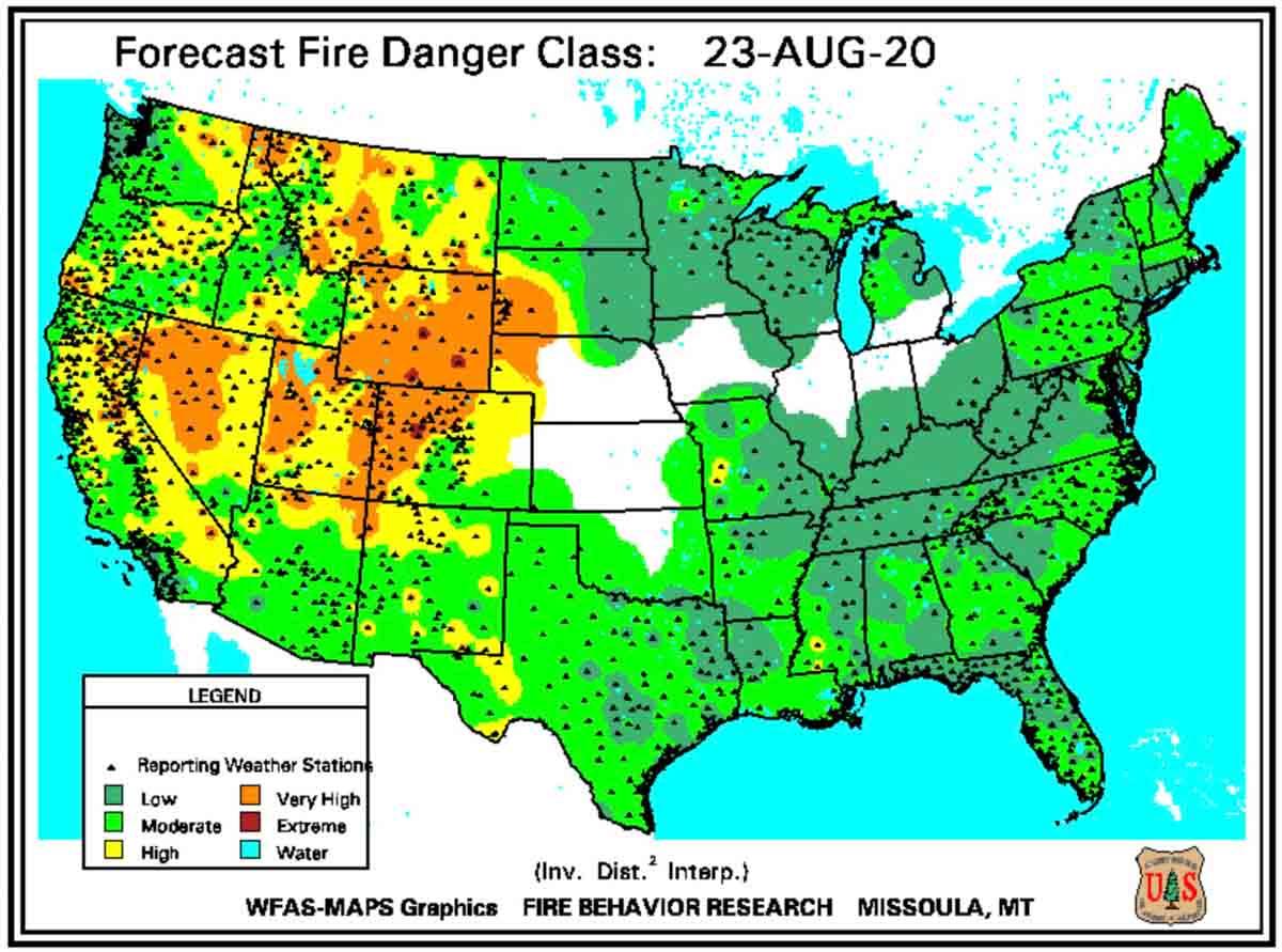 Forecast Fire Danger, August 23, 2020