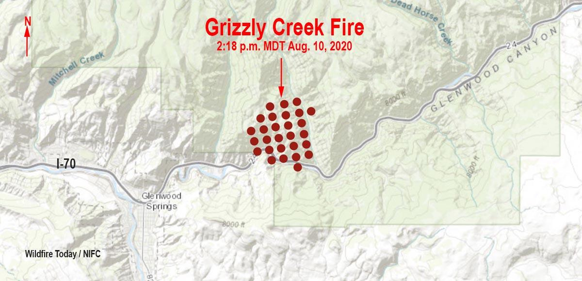 map Grizzly Creek Fire Glenwood Springs Colorado