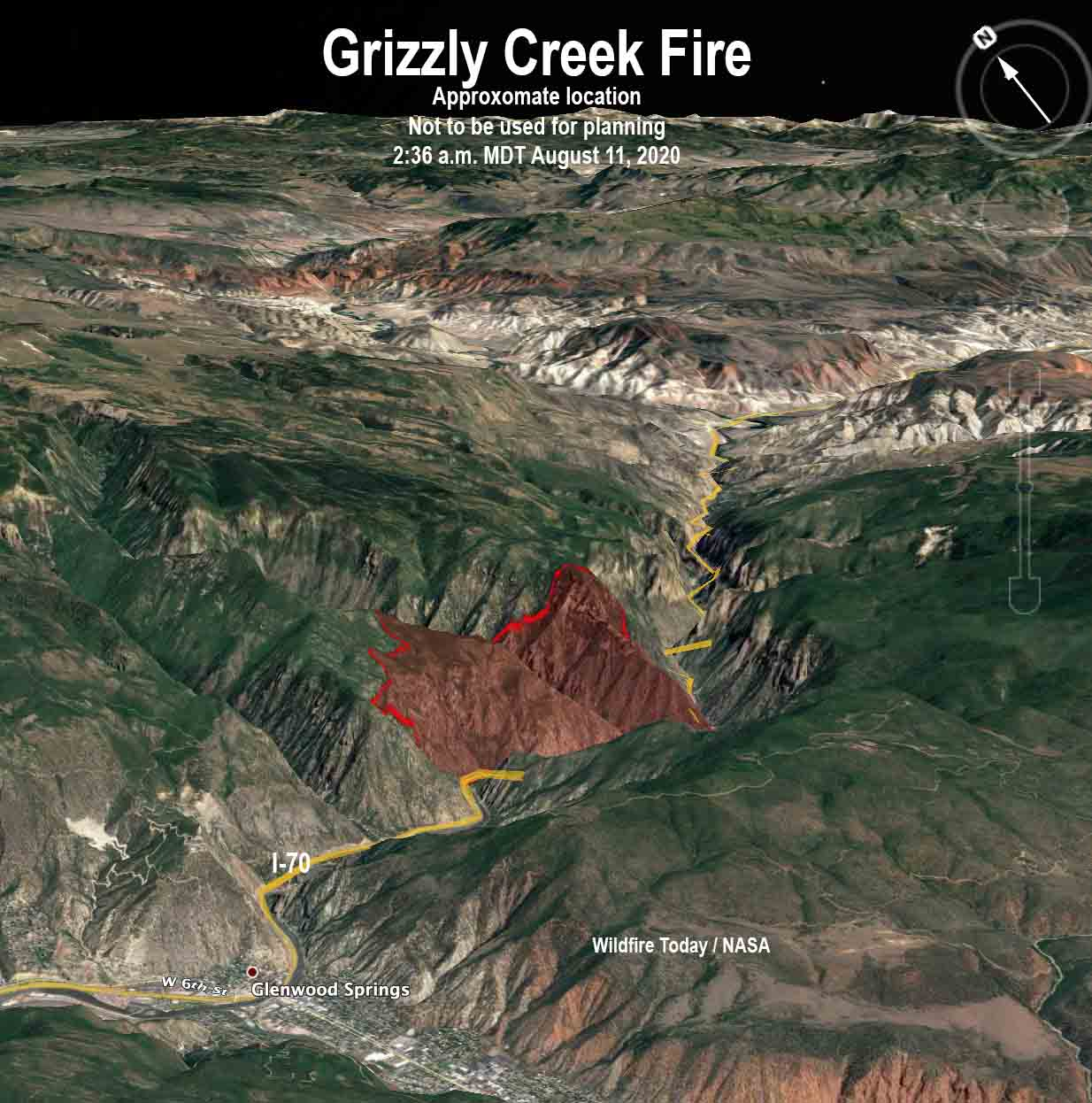 Map Grizzly Creek Fire