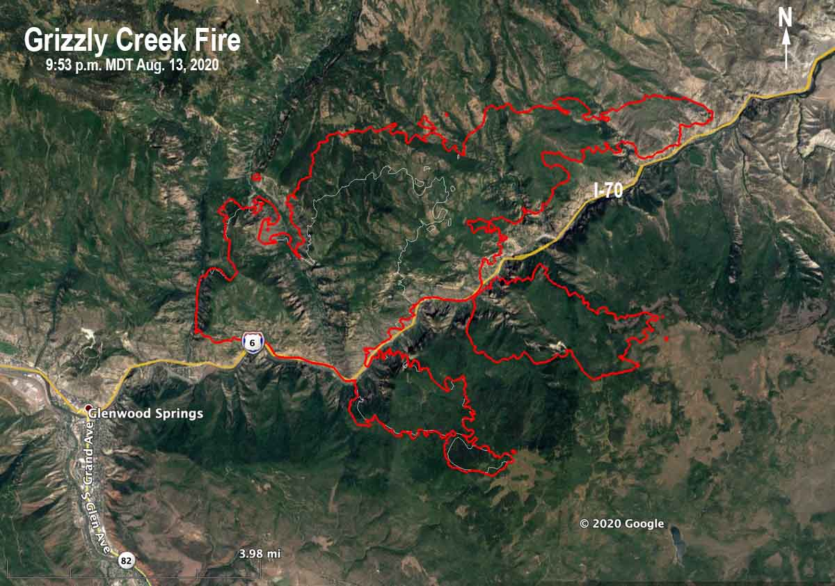 Map of the Grizzly Creek Fire
