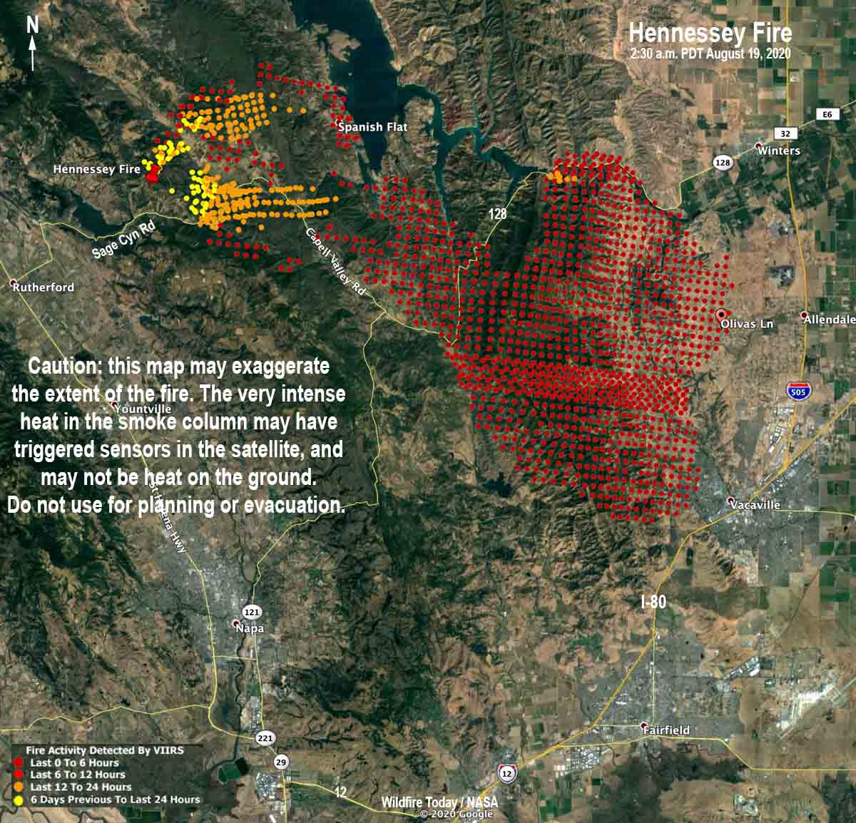 Map of the Hennessey Fire area
