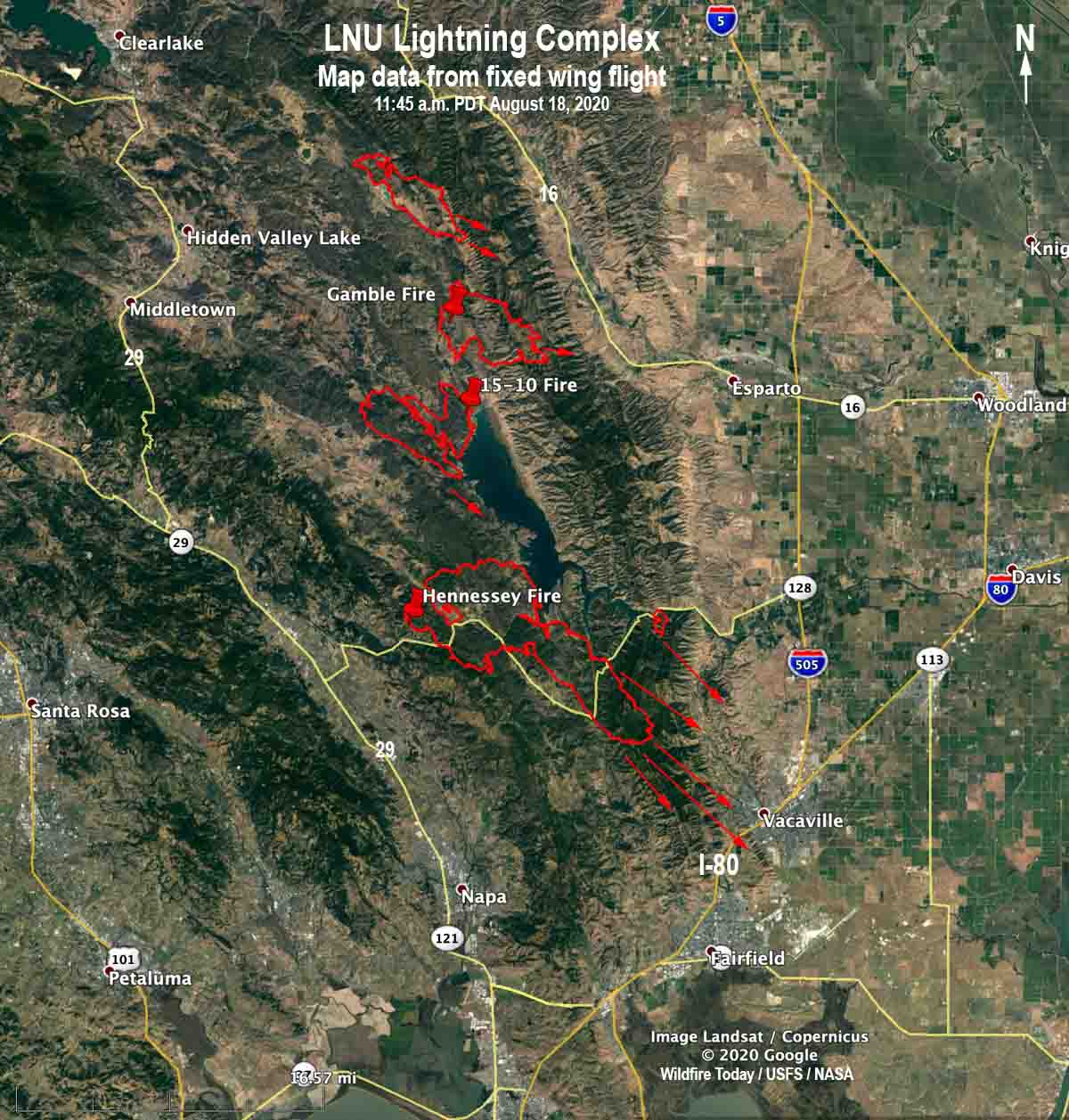 map fire Hennessey LNU Complex 1145 pm PDT August 18, 2020
