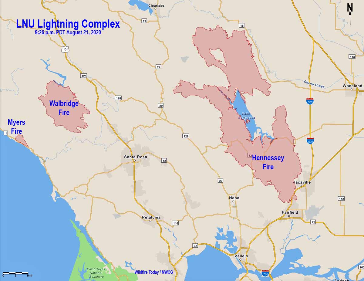 Map of the LNU Lightning Complex fires