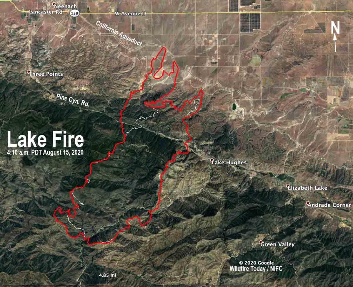 map lake fire lancaster california wildfire