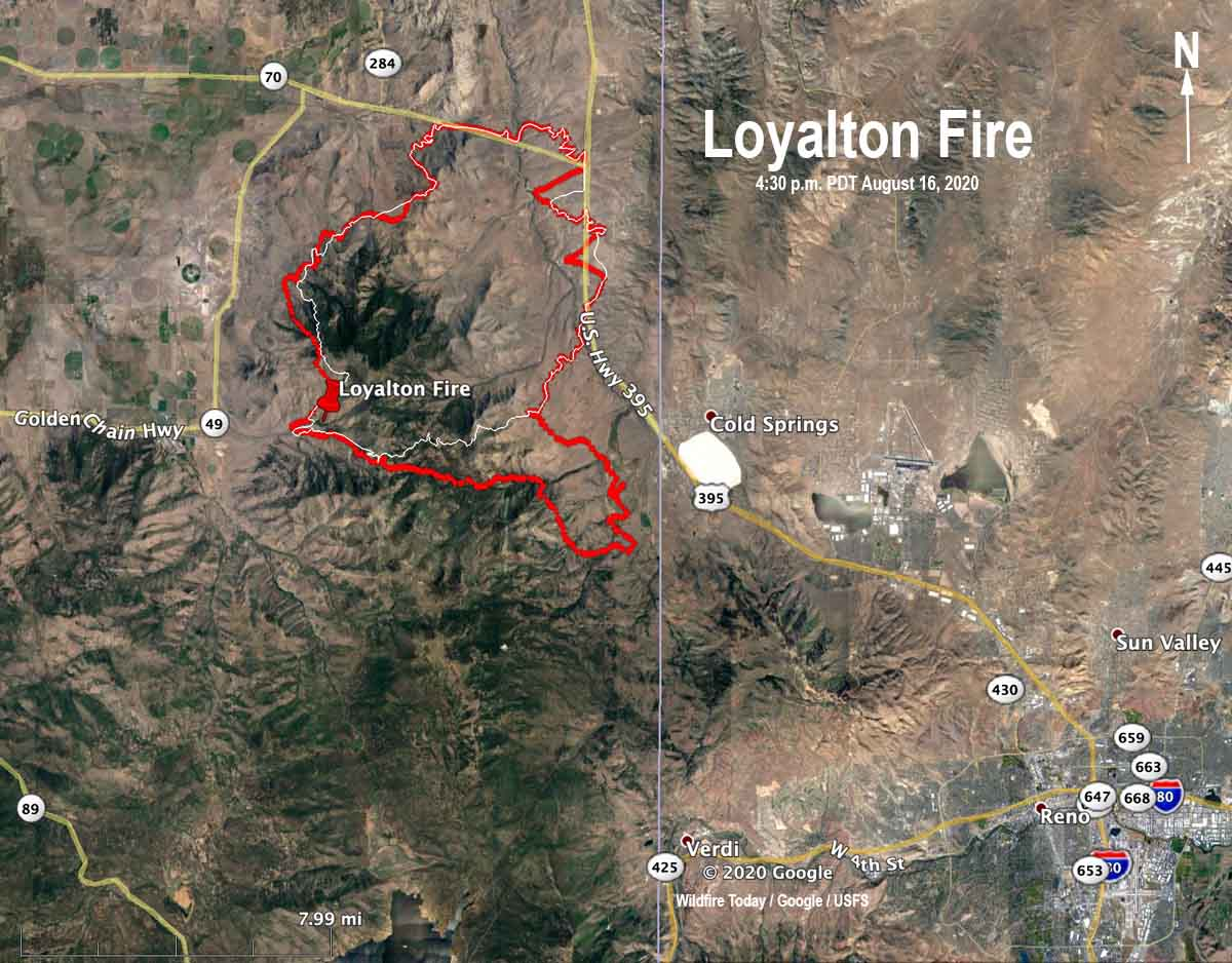 map loyalton fire Reno California wildfire