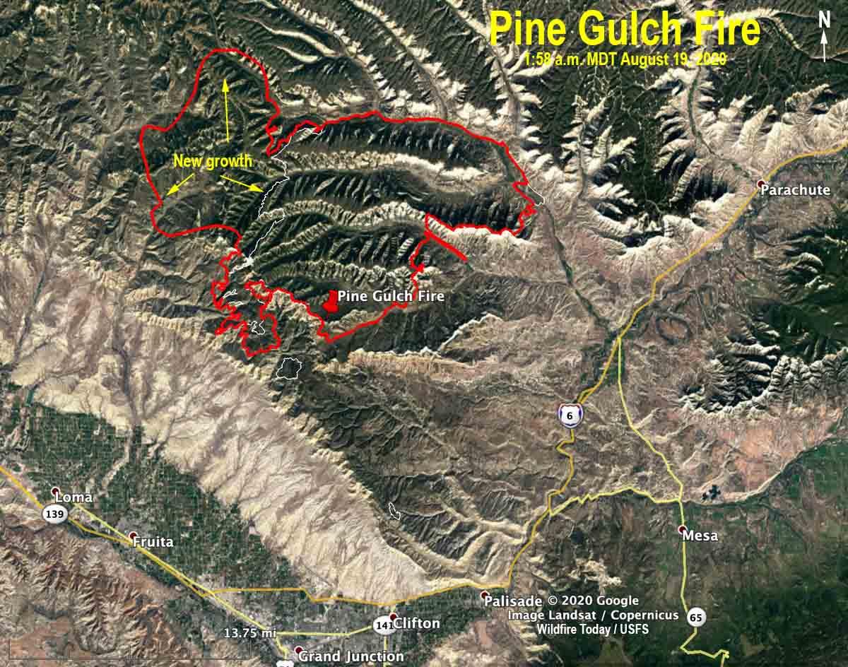 map Pine Gulch Fire
