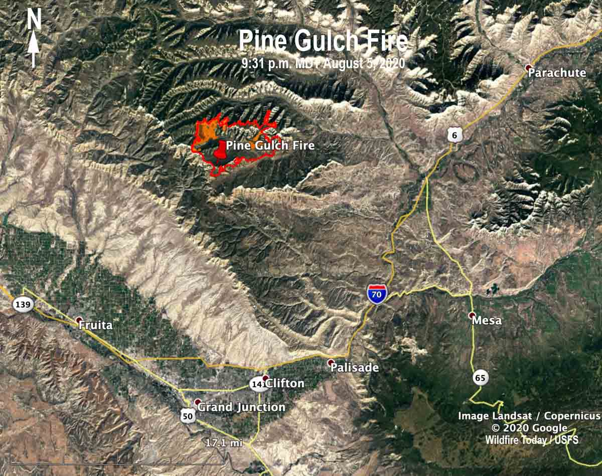 Map Pine Gulch Fire Grand Junction Colorado