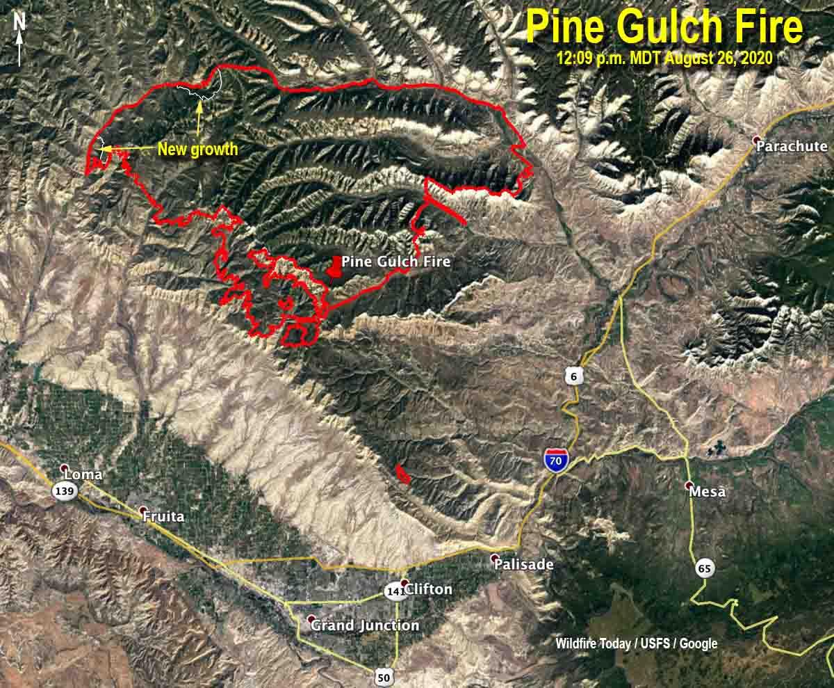map Pine Gulch Fire Colorado August 26, 2020