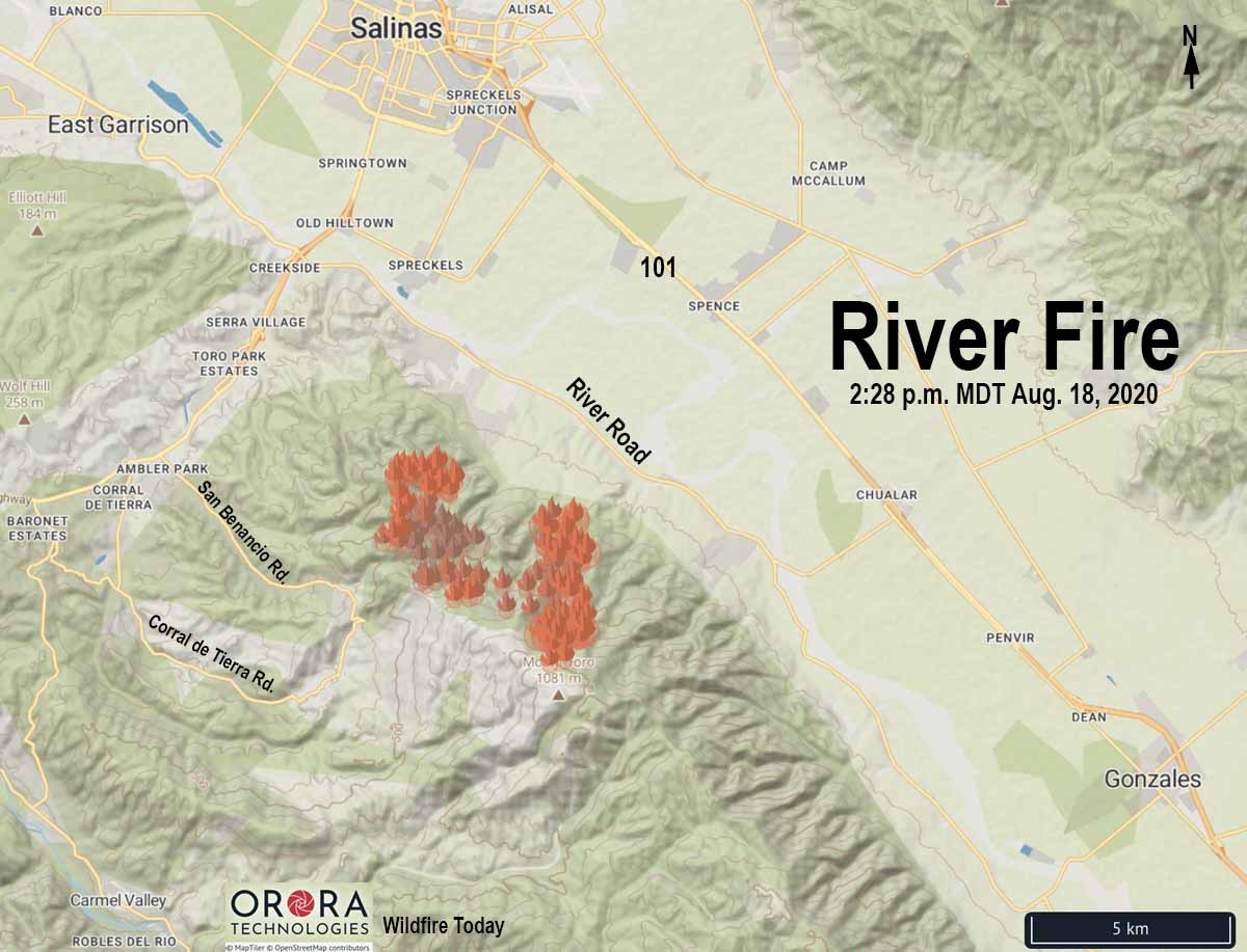 Map River Fire at 2:28 p.m. PDT August 17, 2020