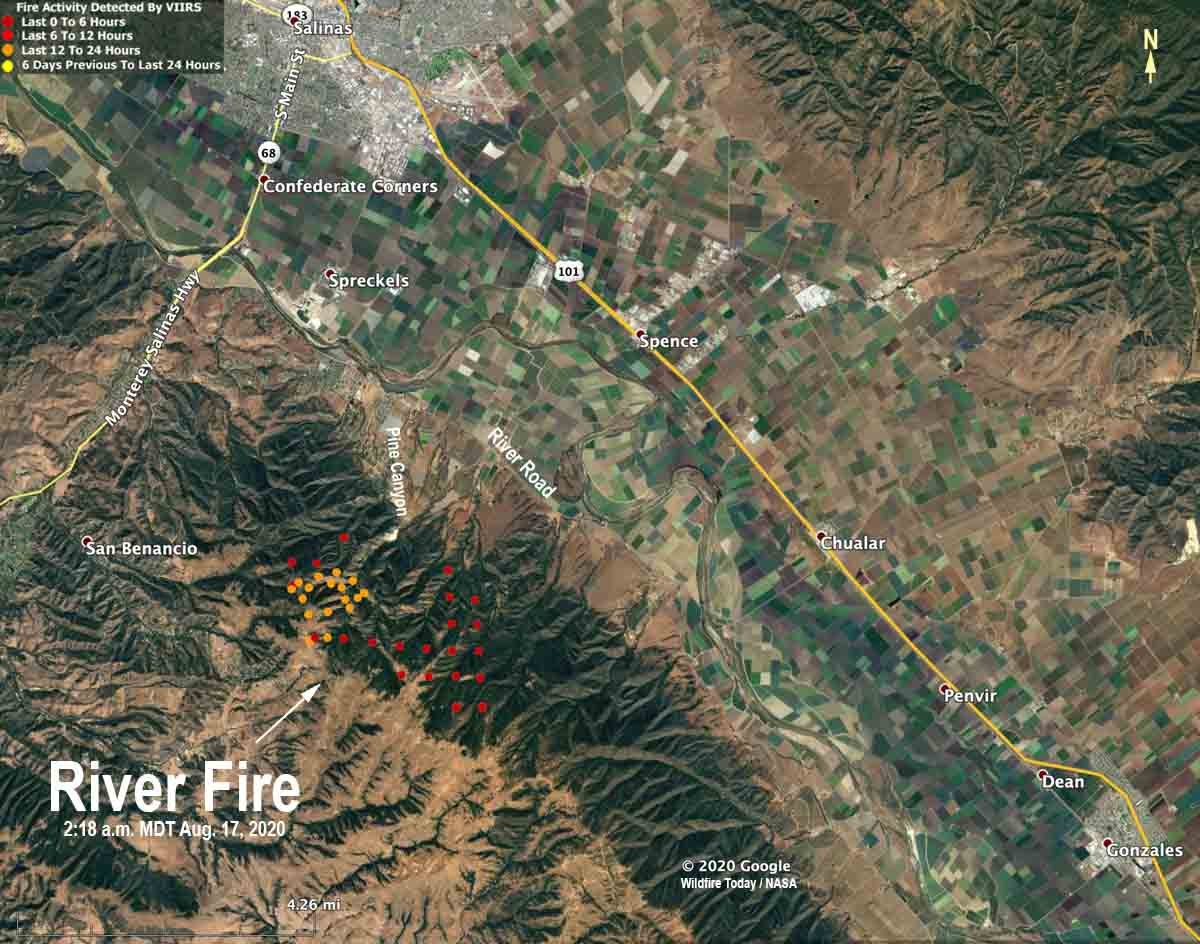 map River Fire Salinas California