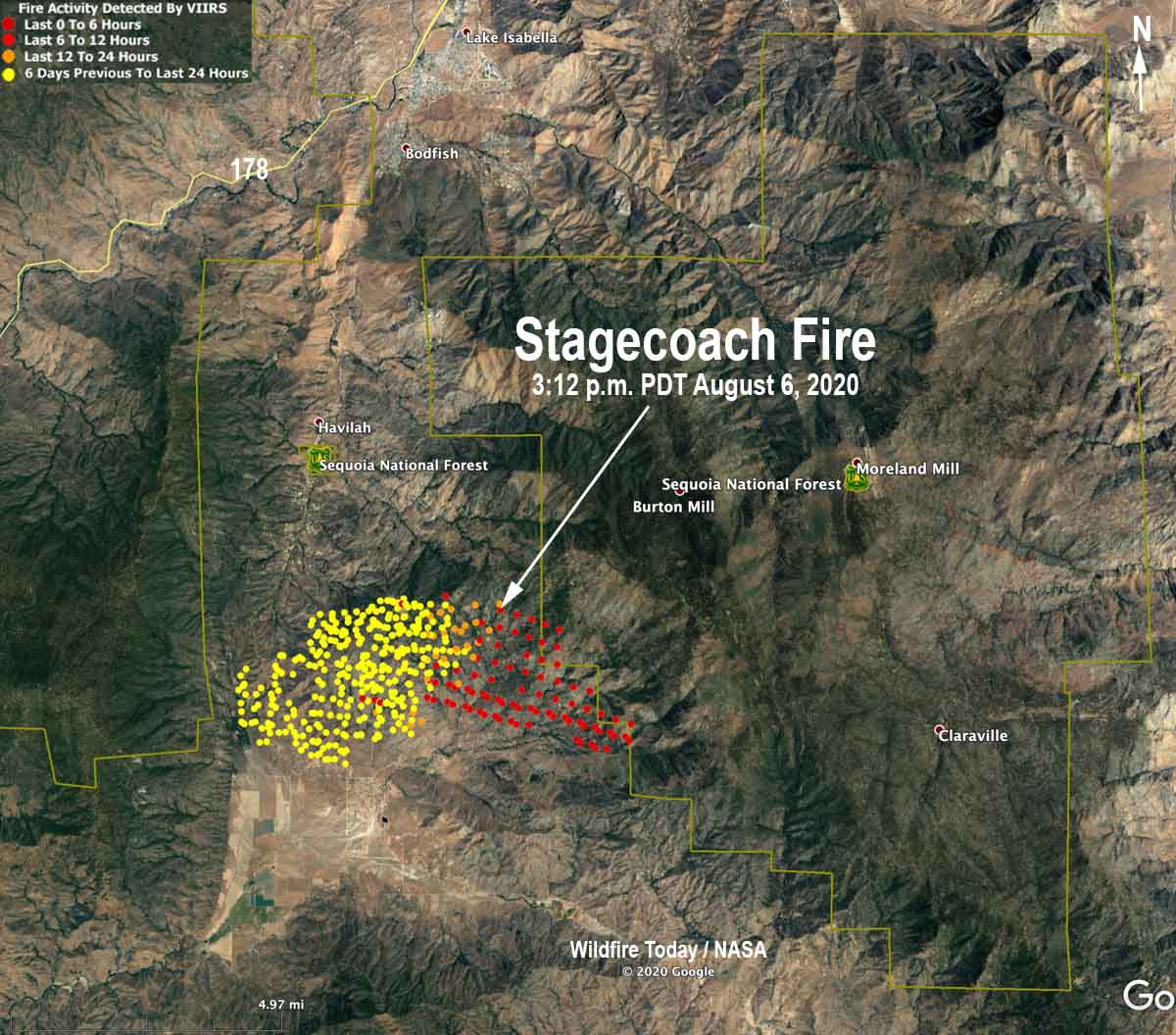 Map of the Stagecoach Fire