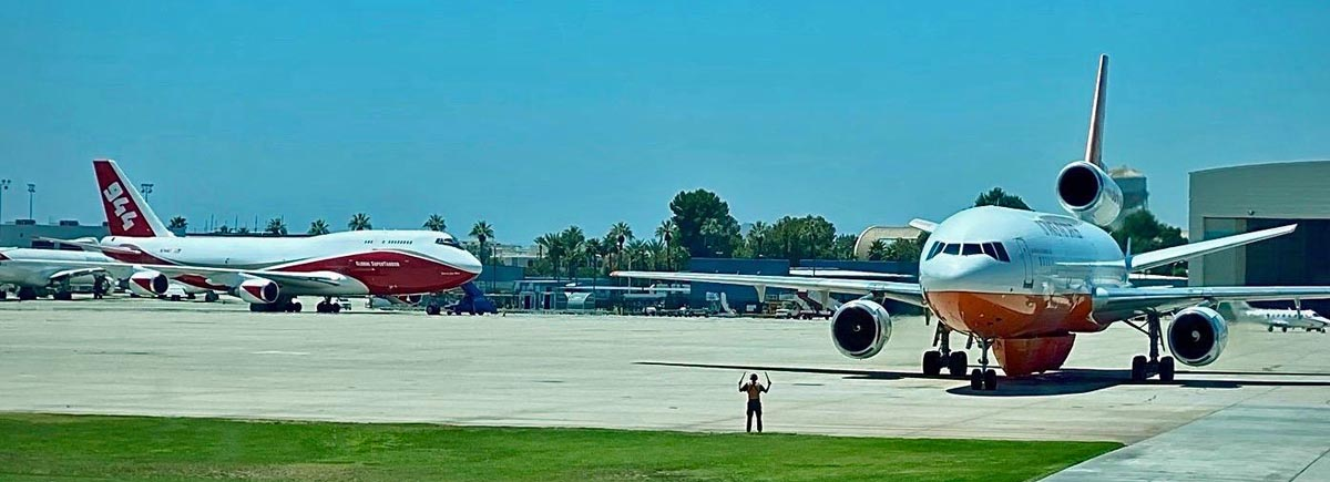 Very Large Air Tankers, a DC-10 and a 747, at San Bernardino Air Tanker Base