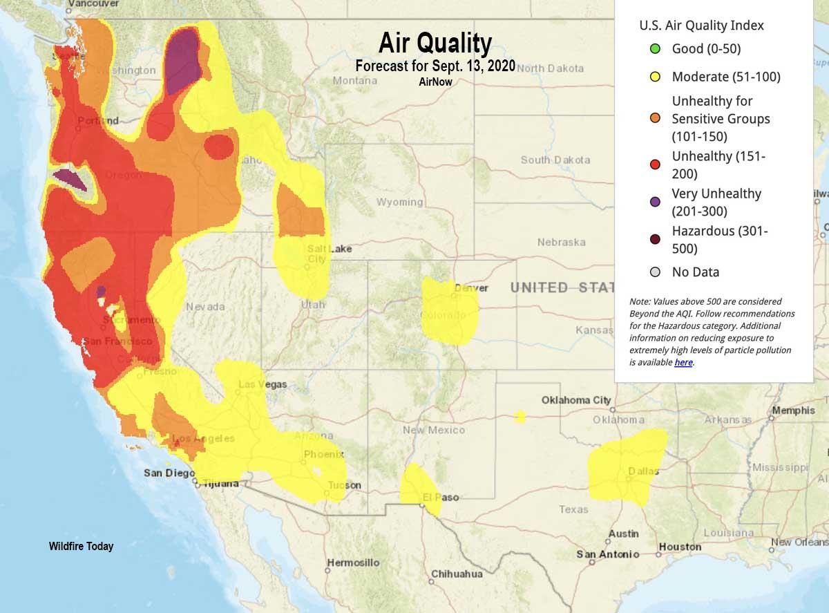 Air Quality forecast for September 13, 2020