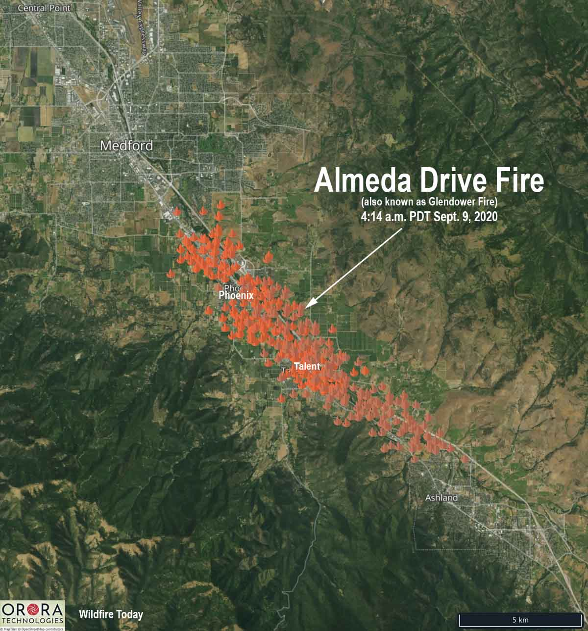 Map of the Almeda Drive Fire