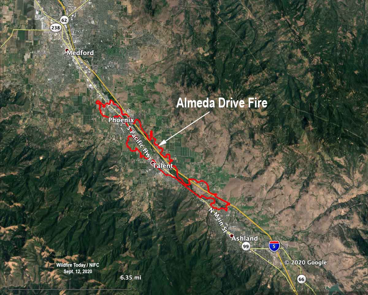 map Almeda Drive Fire