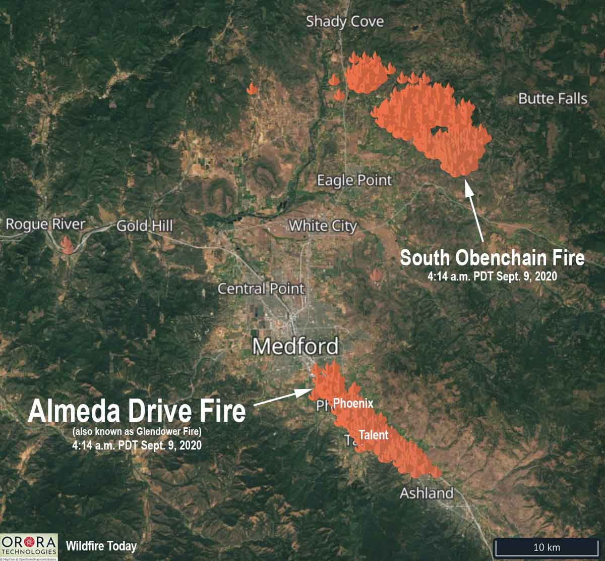 Map Almeda Drive and South Obenchain Fires