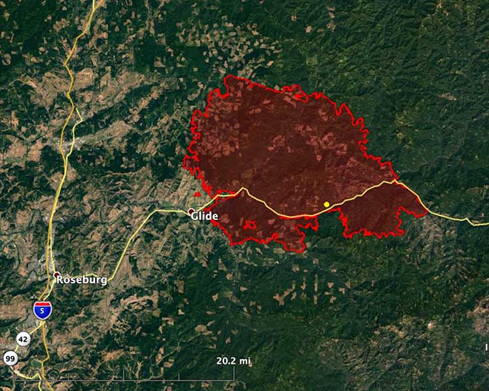 Archie Creek Fire map