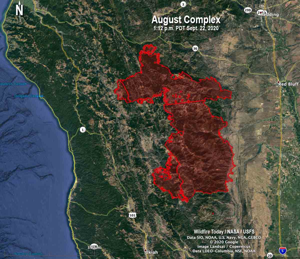 Map of the August Complex of fires