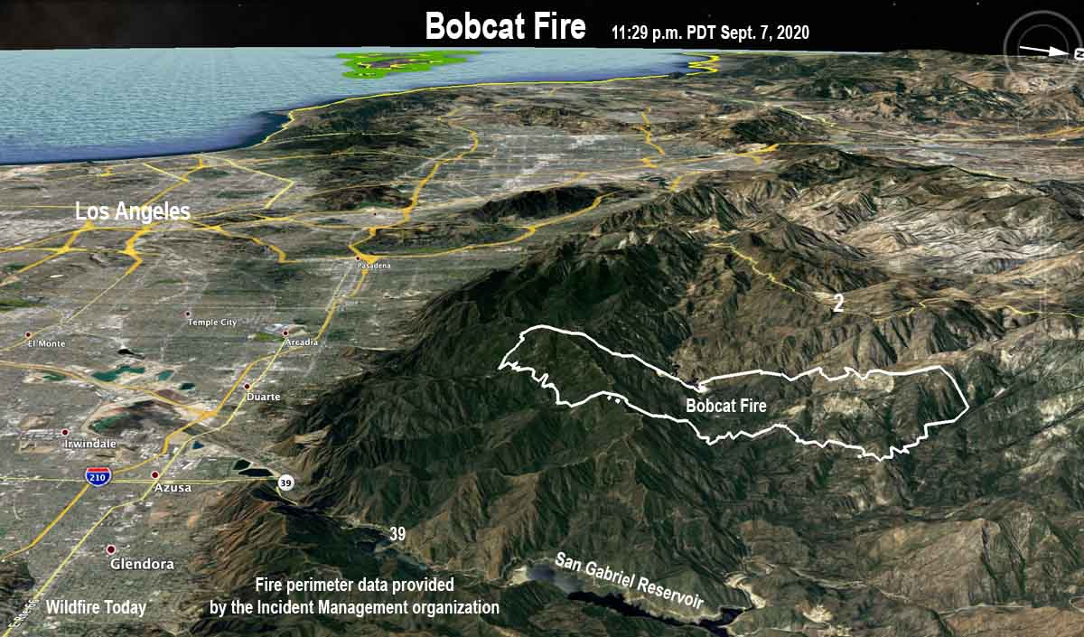 map of the Bobcat Fire