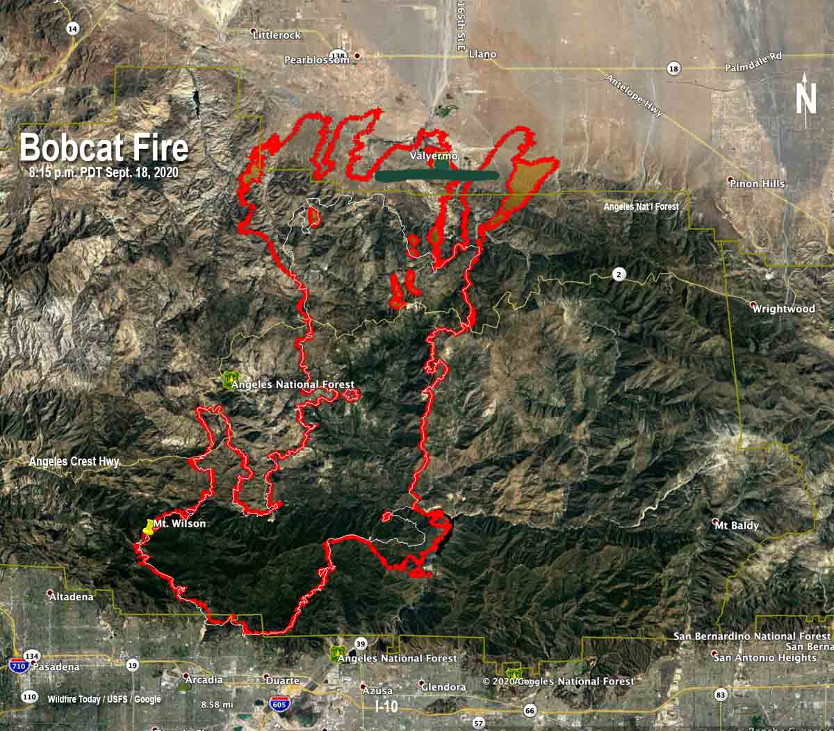 Bobcat Fire map